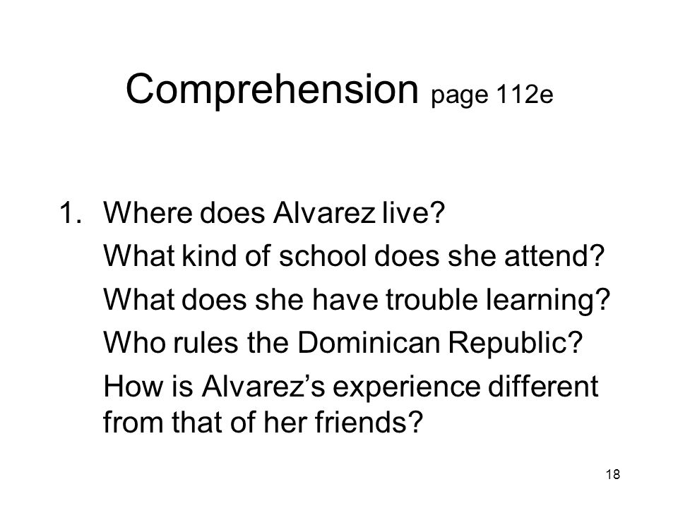 Comprehension page 112e Where does Alvarez live