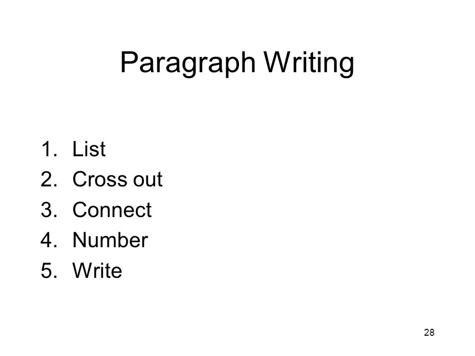Paragraph Writing List Cross out Connect Number Write