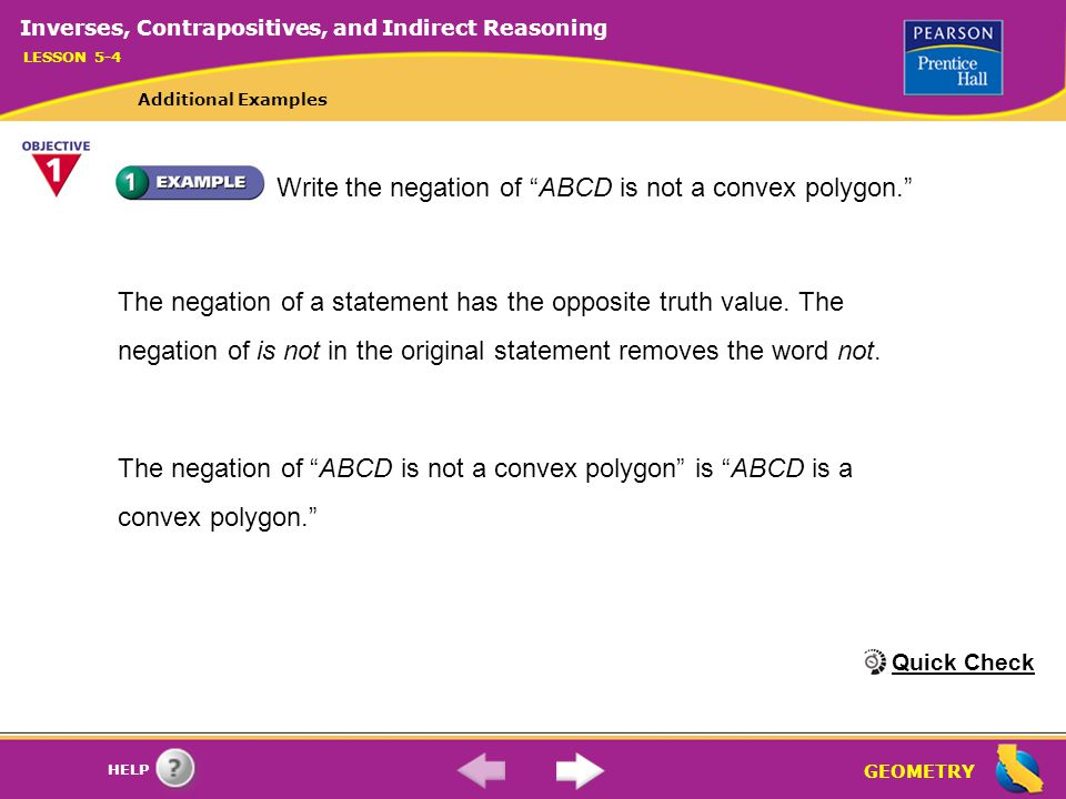 Write the negation of ABCD is not a convex polygon.
