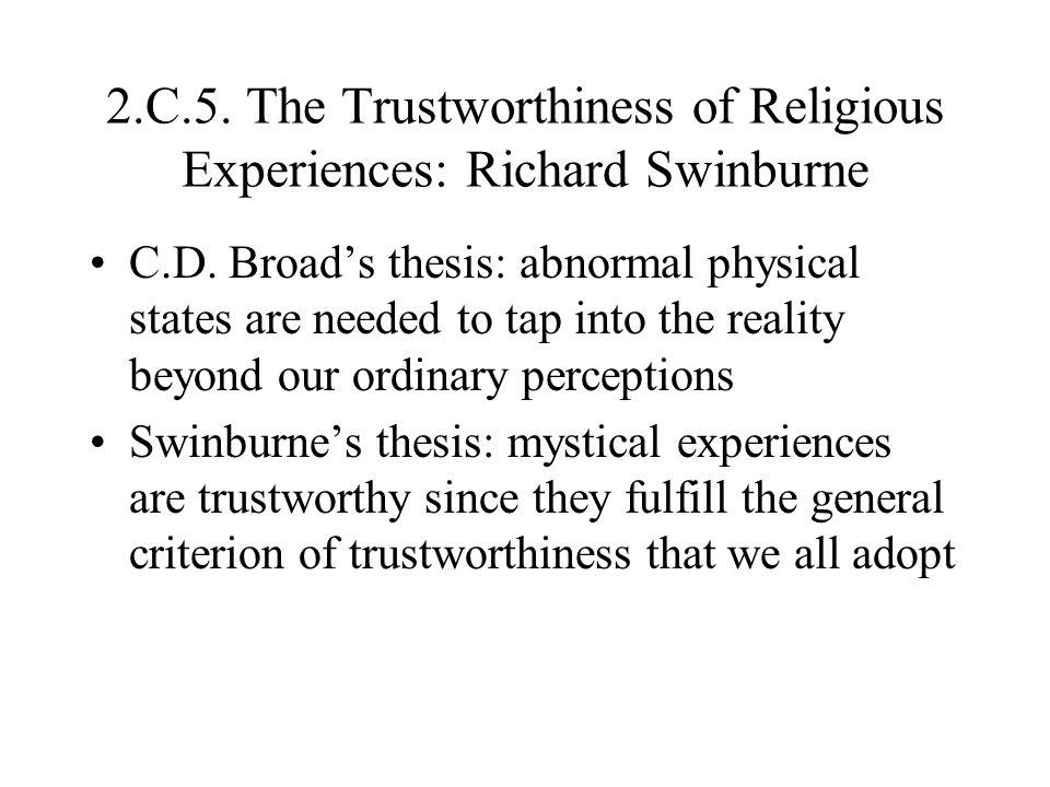 2.C.5. The Trustworthiness of Religious Experiences: Richard Swinburne