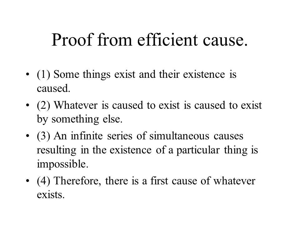 Proof from efficient cause.