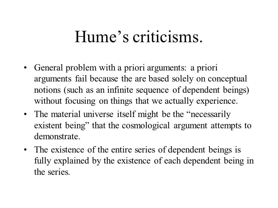 Hume's criticisms.