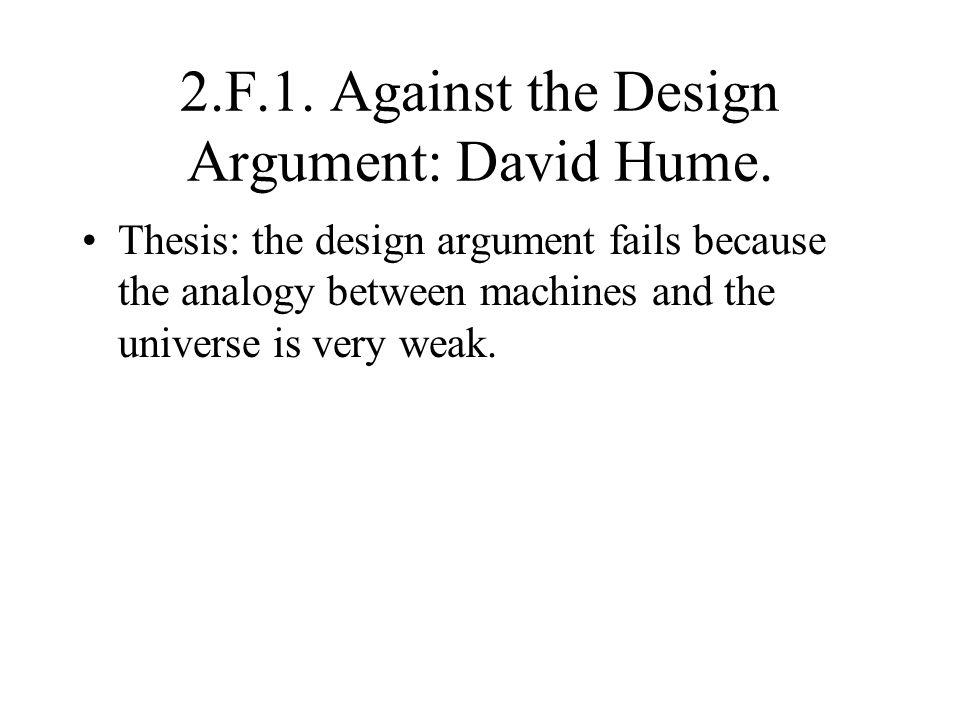 2.F.1. Against the Design Argument: David Hume.