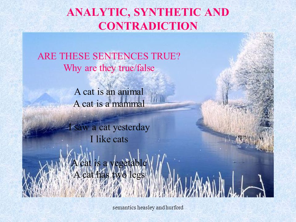 ANALYTIC, SYNTHETIC AND CONTRADICTION