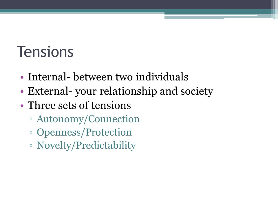 Tensions Internal- between two individuals