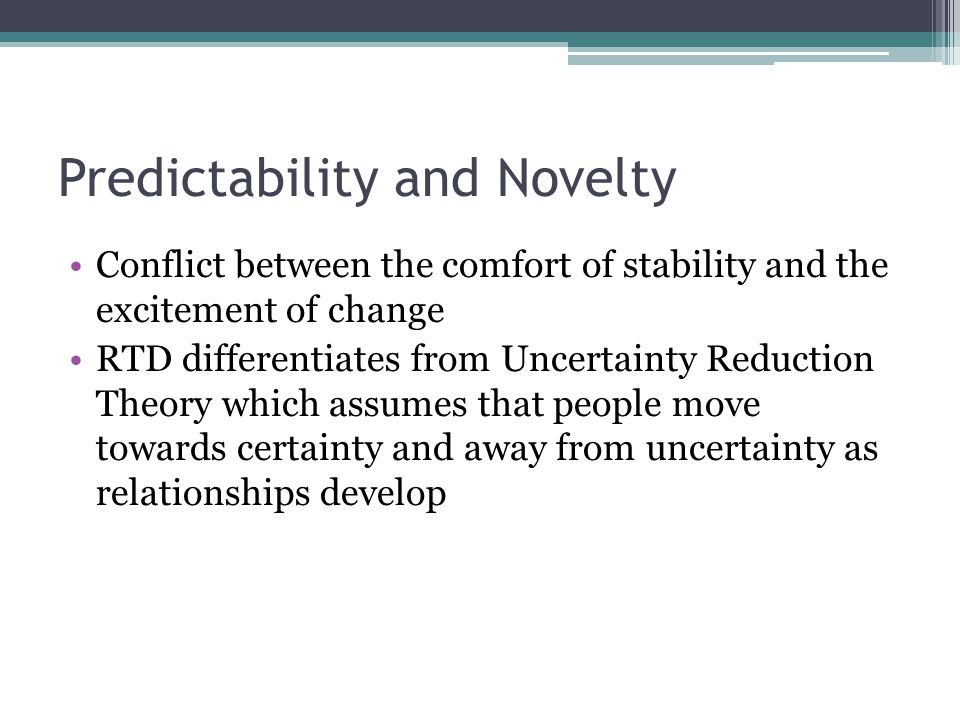 Predictability and Novelty