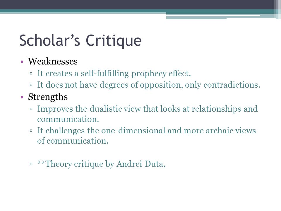 Scholar's Critique Weaknesses Strengths