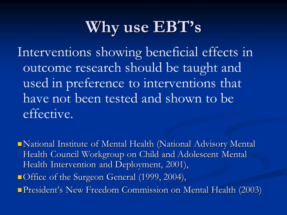 Why use EBT's