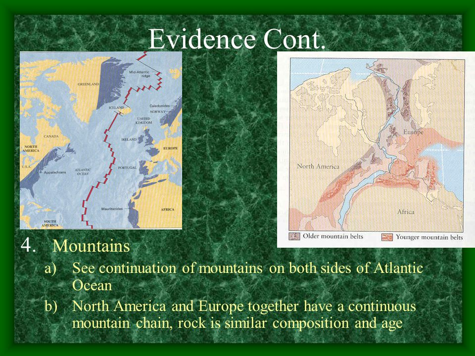Evidence Cont. Mountains