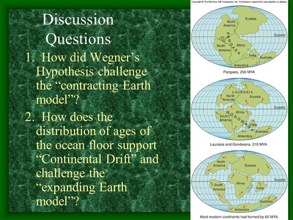 Discussion Questions 1. How did Wegner's Hypothesis challenge the contracting Earth model