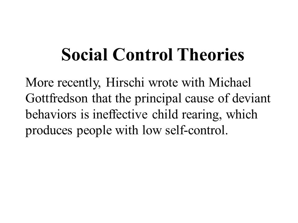 Social Control Theories