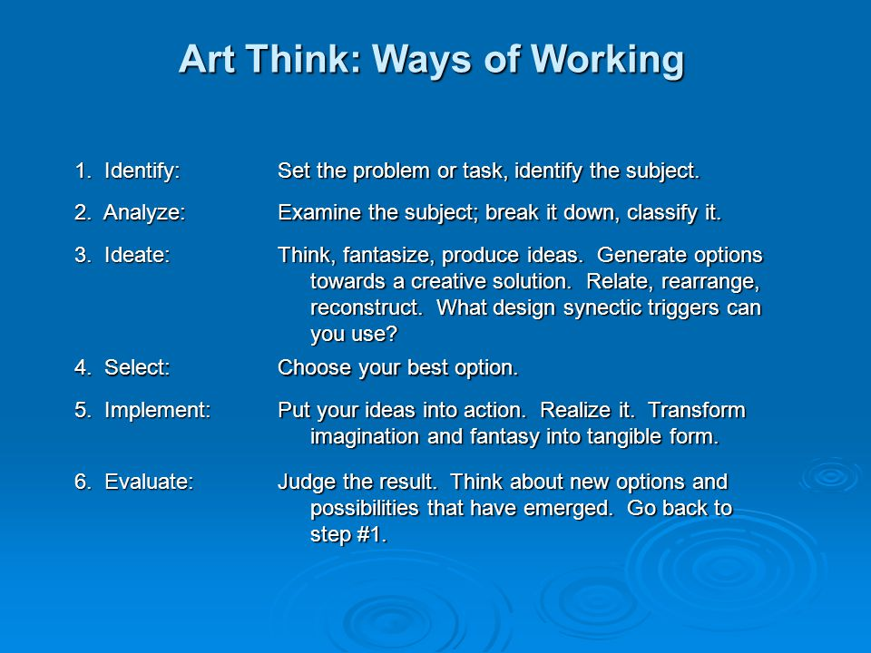 Art Think: Ways of Working