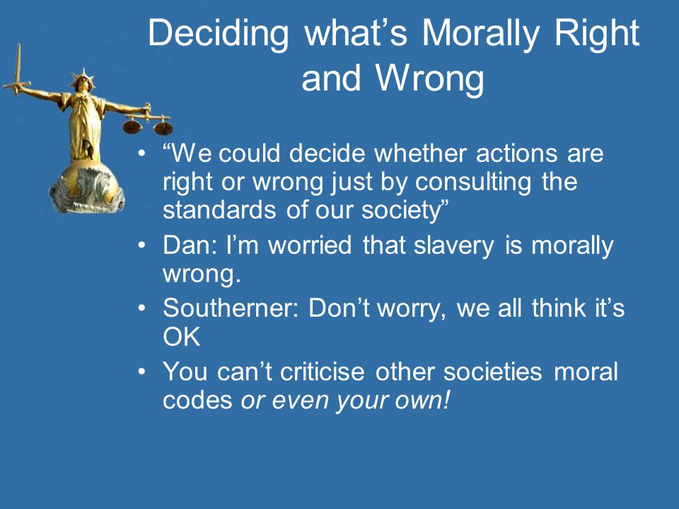 Deciding what's Morally Right and Wrong