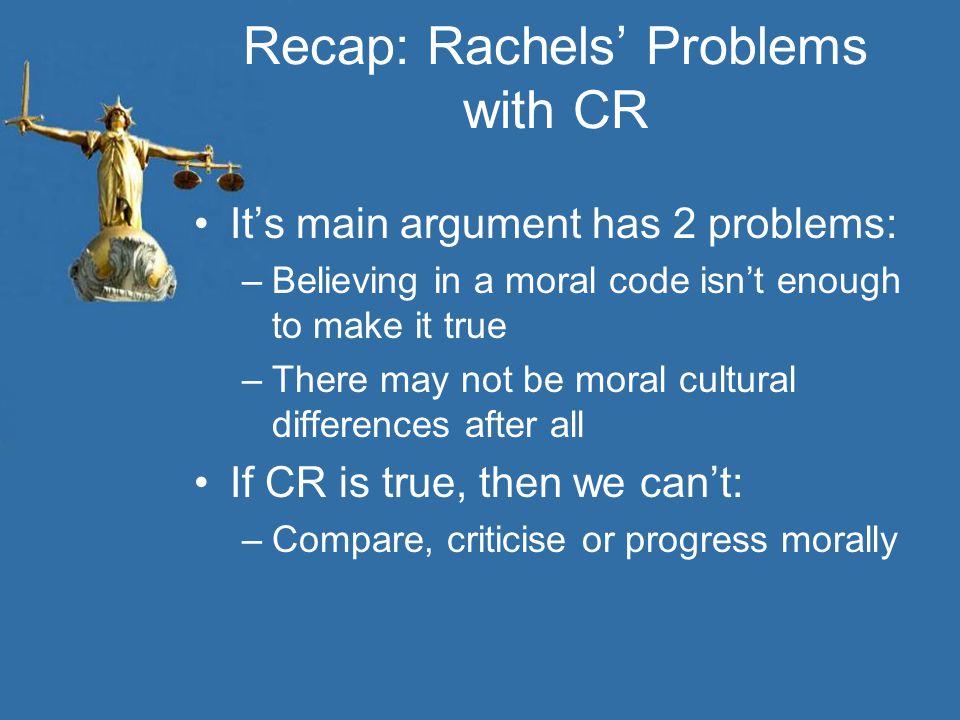 Recap: Rachels' Problems with CR