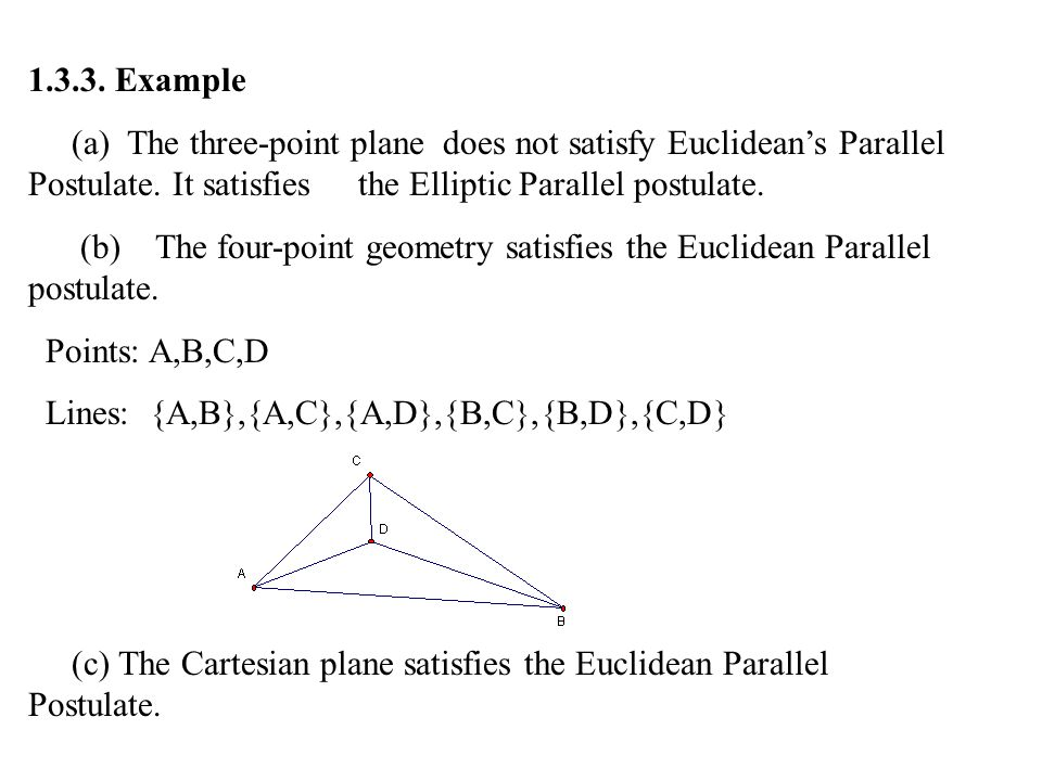 1.3.3. Example (a) The three-point plane does not satisfy Euclidean's Parallel Postulate. It satisfies the Elliptic Parallel postulate.