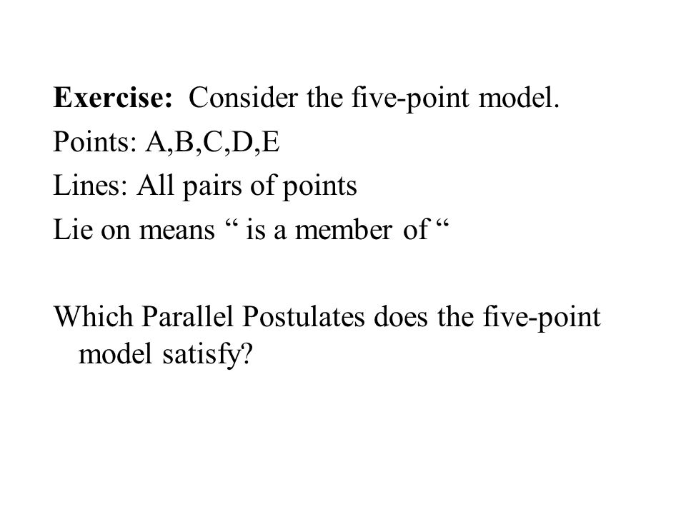 Exercise: Consider the five-point model.