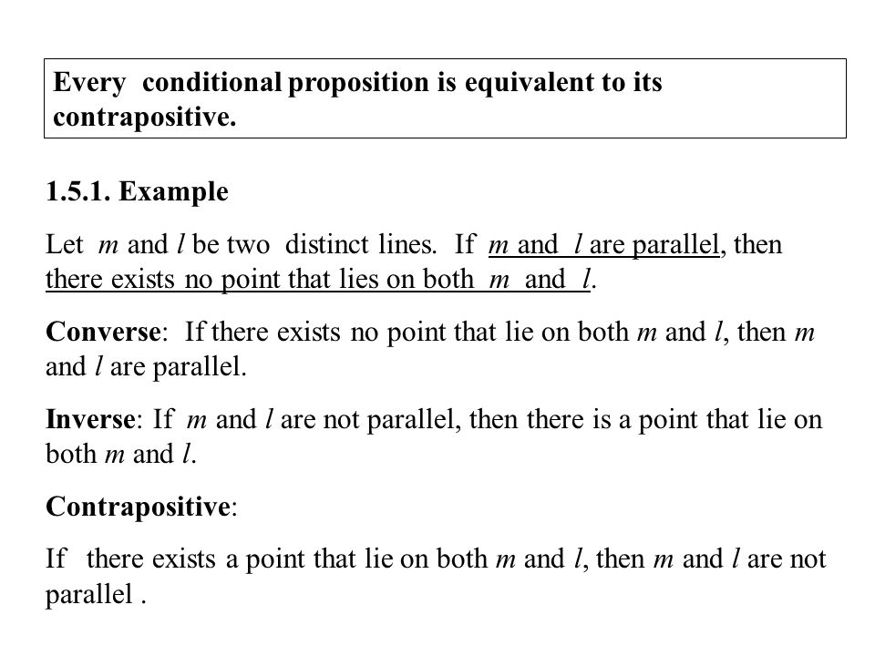 Every conditional proposition is equivalent to its contrapositive.