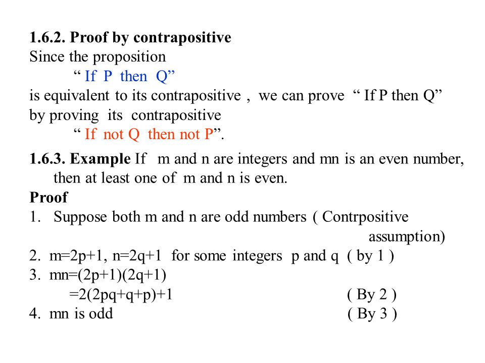 1.6.2. Proof by contrapositive