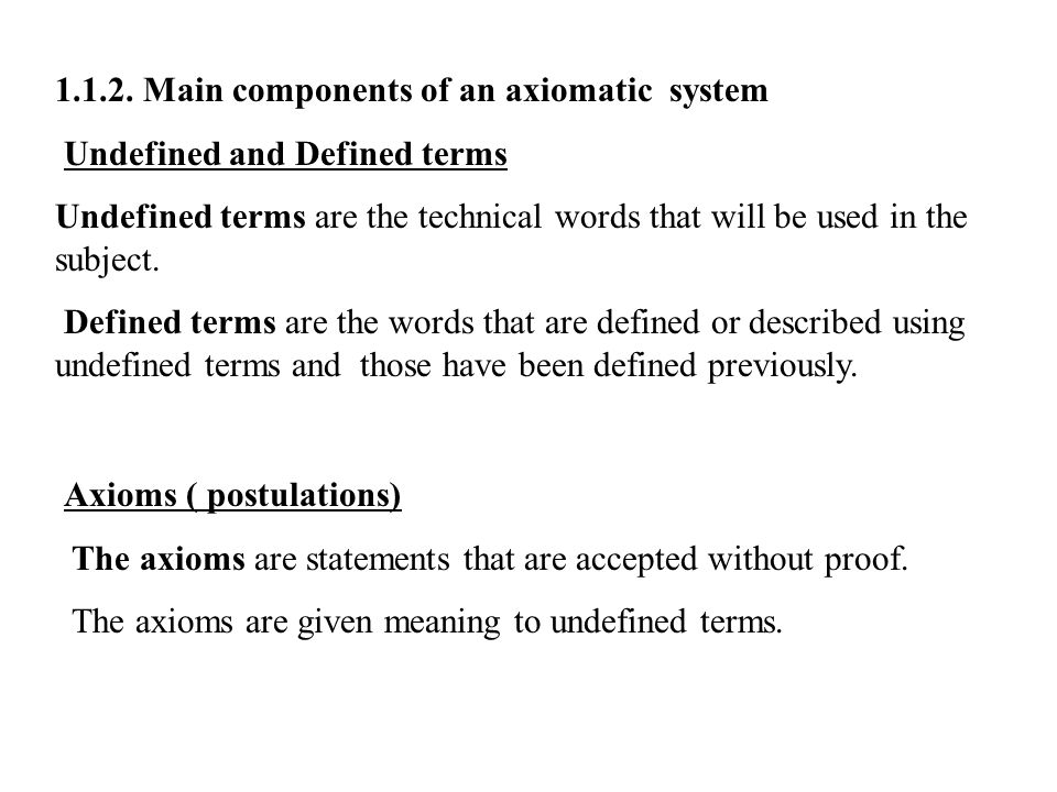 1.1.2. Main components of an axiomatic system