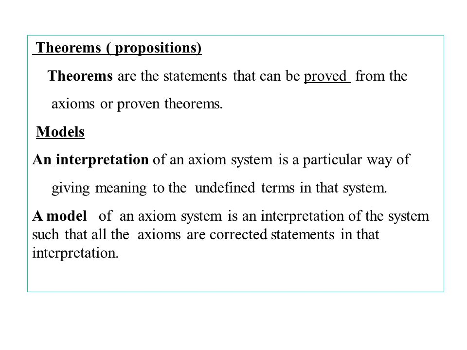 Theorems ( propositions)