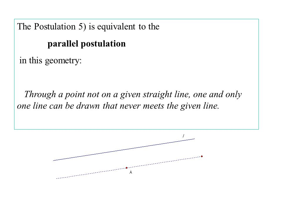 The Postulation 5) is equivalent to the