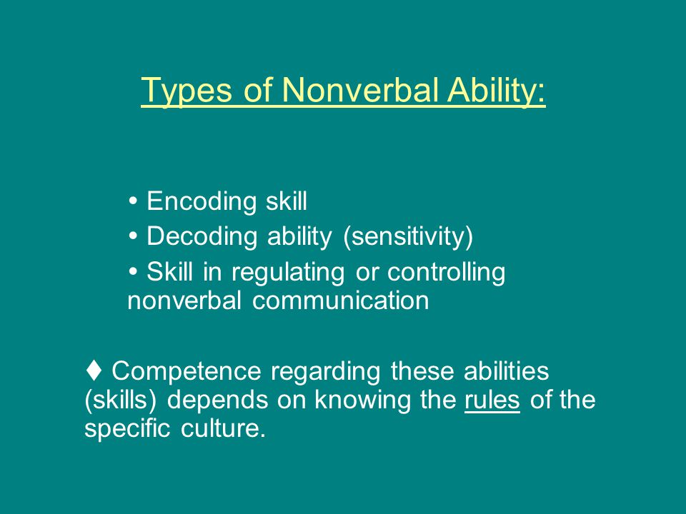 Types of Nonverbal Ability: