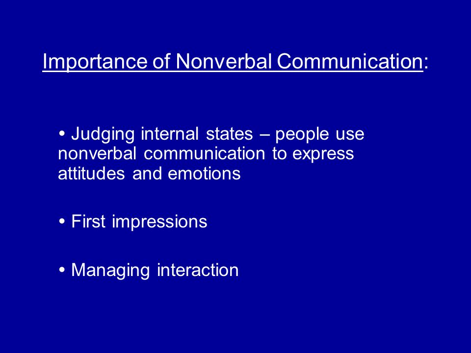 Importance of Nonverbal Communication: