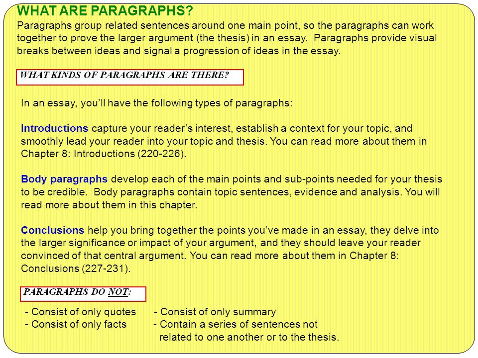 WHAT ARE PARAGRAPHS Paragraphs group related sentences around one main point, so the paragraphs can work together to prove the larger argument (the thesis) in an essay. Paragraphs provide visual breaks between ideas and signal a progression of ideas in the essay.