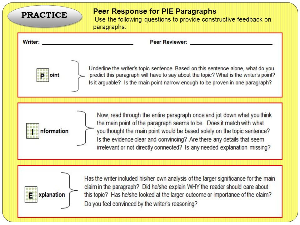 PRACTICE Peer Response for PIE Paragraphs Use the following questions to provide constructive feedback on paragraphs: