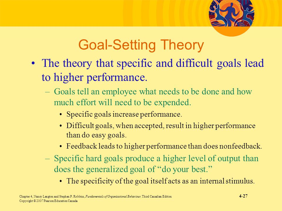 Goal-Setting Theory The theory that specific and difficult goals lead to higher performance.