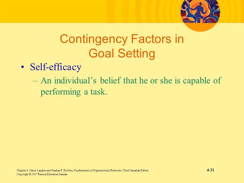 Contingency Factors in Goal Setting