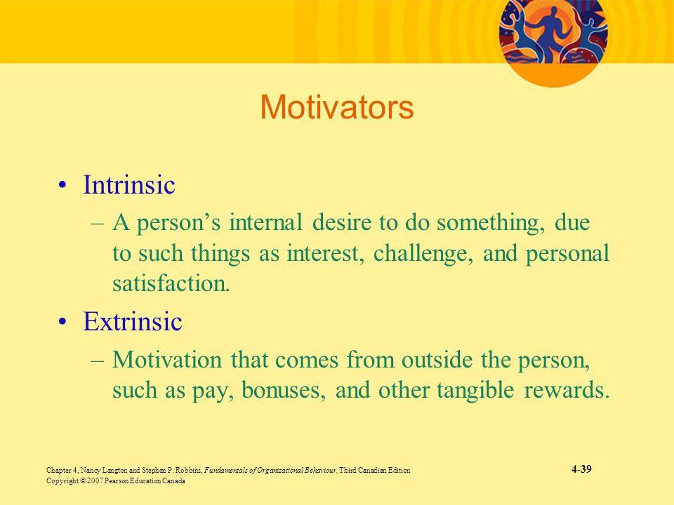 Motivators Intrinsic Extrinsic
