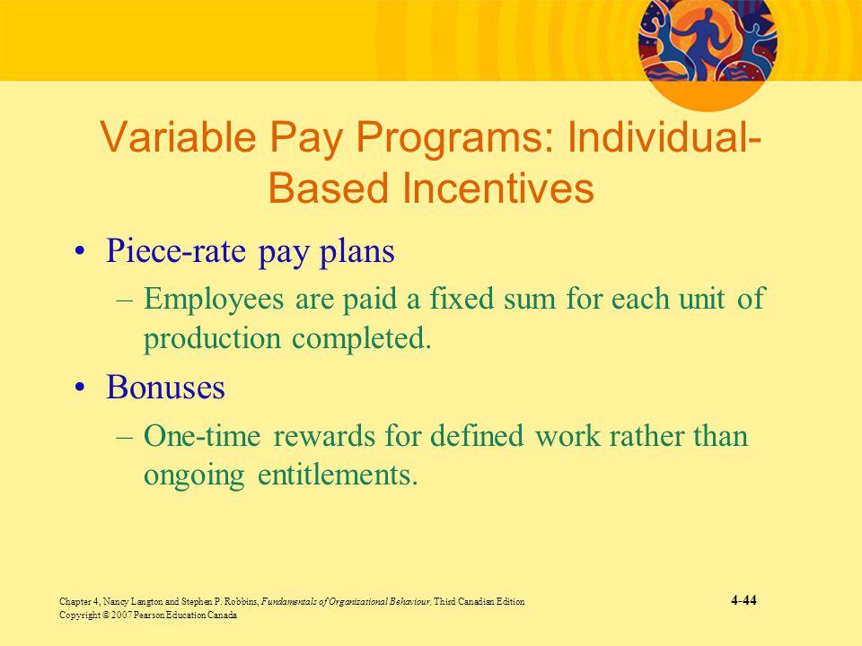 Variable Pay Programs: Individual-Based Incentives