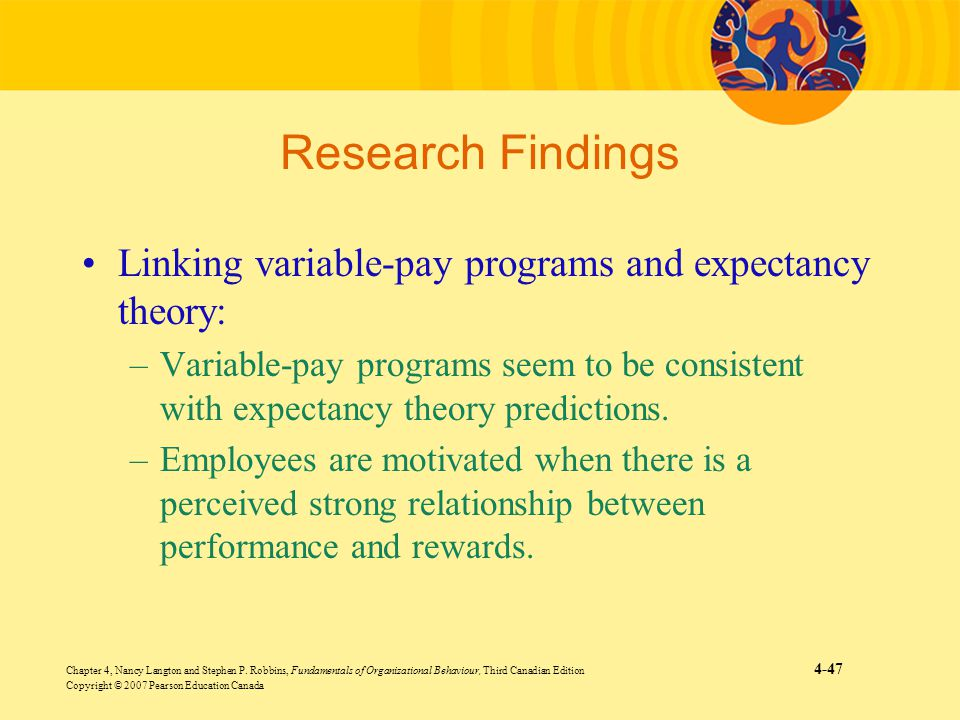 Research Findings Linking variable-pay programs and expectancy theory:
