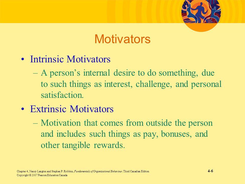 Motivators Intrinsic Motivators Extrinsic Motivators