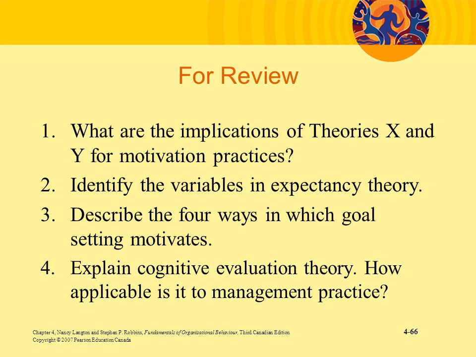 For Review What are the implications of Theories X and Y for motivation practices Identify the variables in expectancy theory.