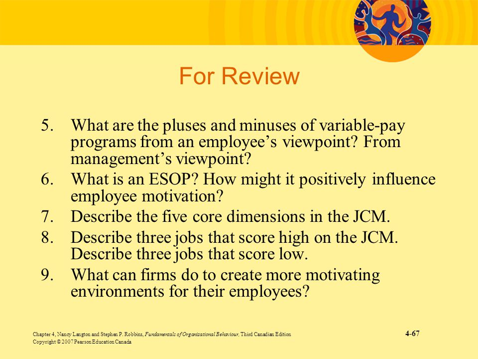 For Review 5. What are the pluses and minuses of variable-pay programs from an employee's viewpoint From management's viewpoint