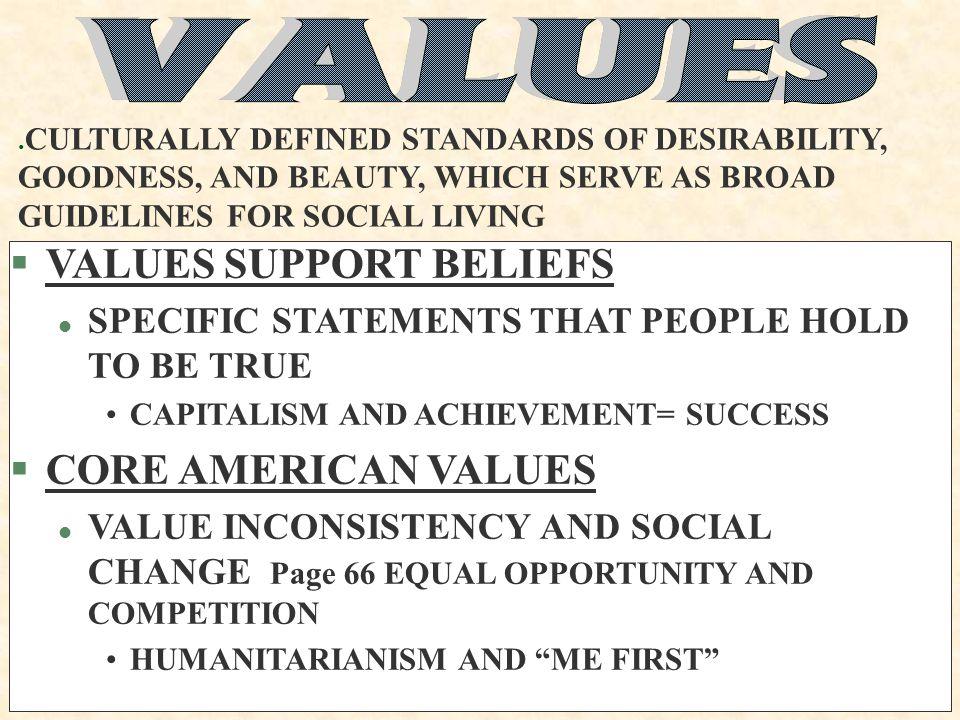VALUES SUPPORT BELIEFS