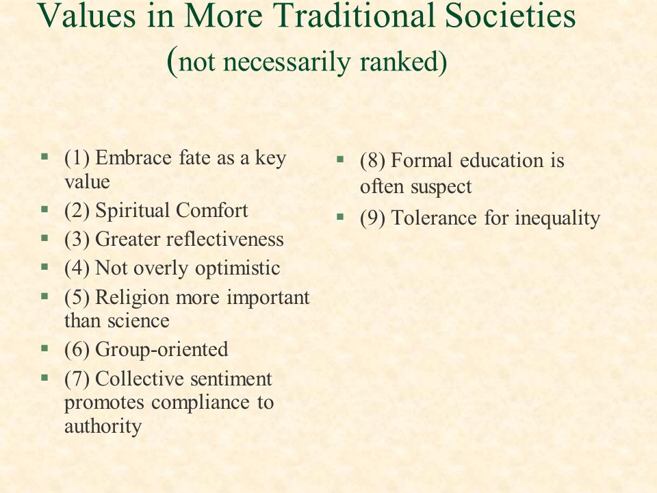 Values in More Traditional Societies (not necessarily ranked)