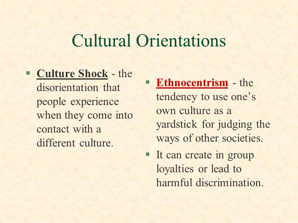 Cultural Orientations