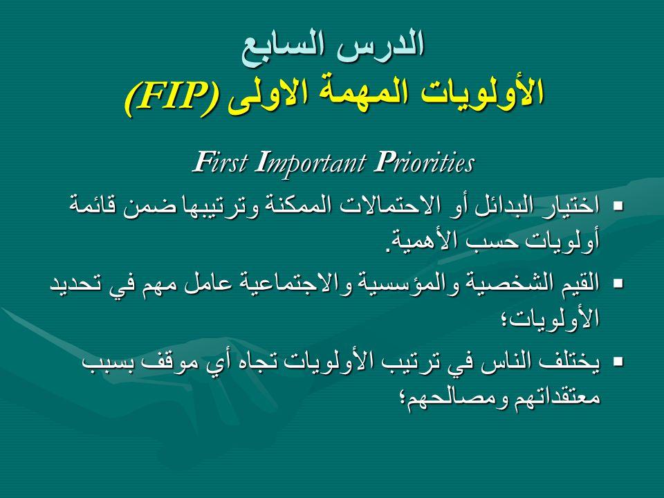 الدرس السابع الأولويات المهمة الاولى (FIP)