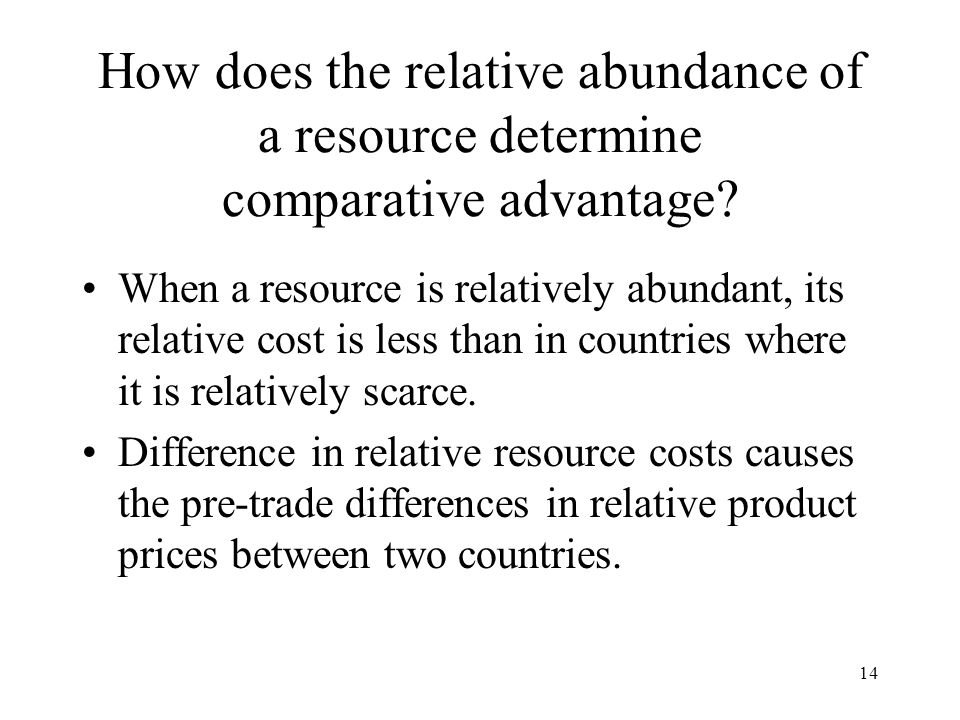 How does the relative abundance of a resource determine comparative advantage
