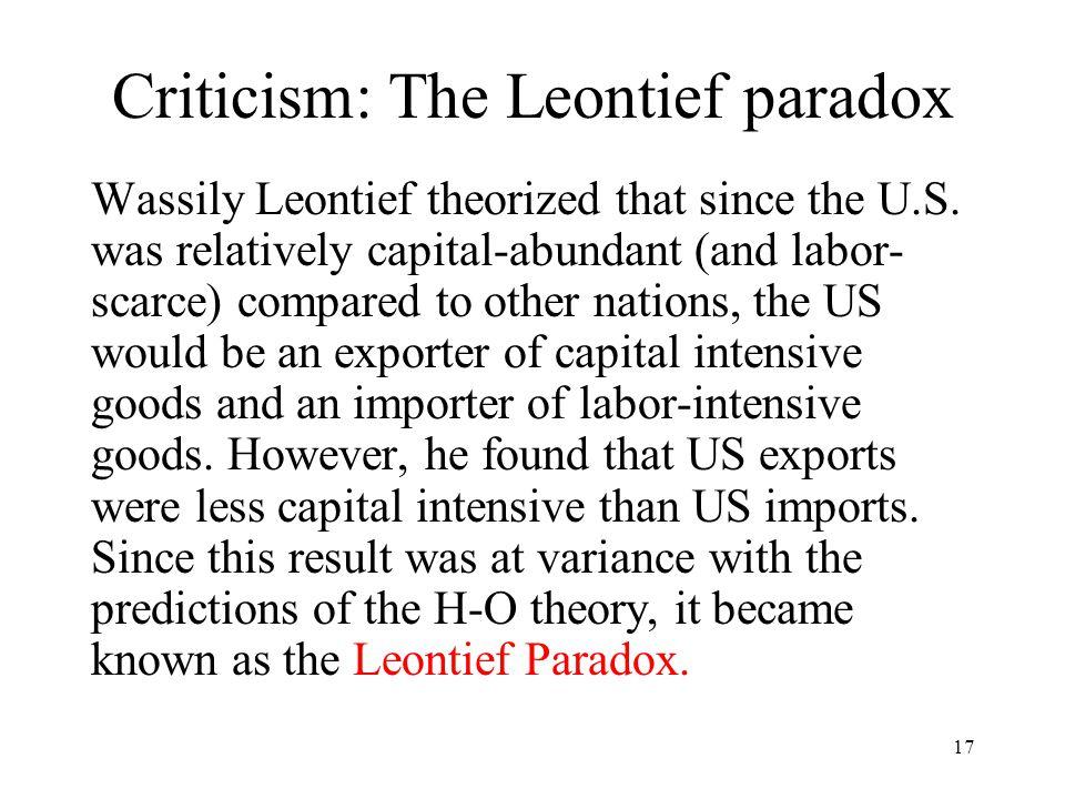 Criticism: The Leontief paradox