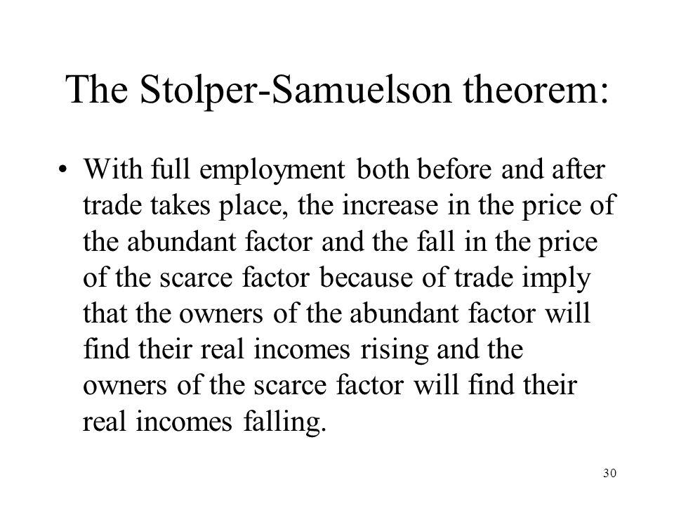 The Stolper-Samuelson theorem: