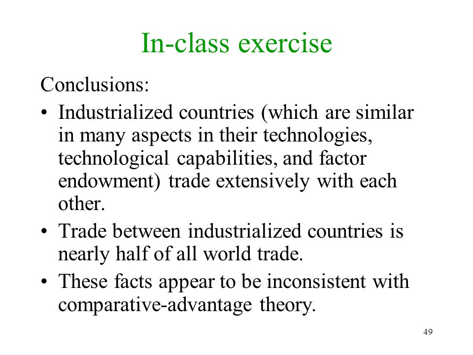 In-class exercise Conclusions: