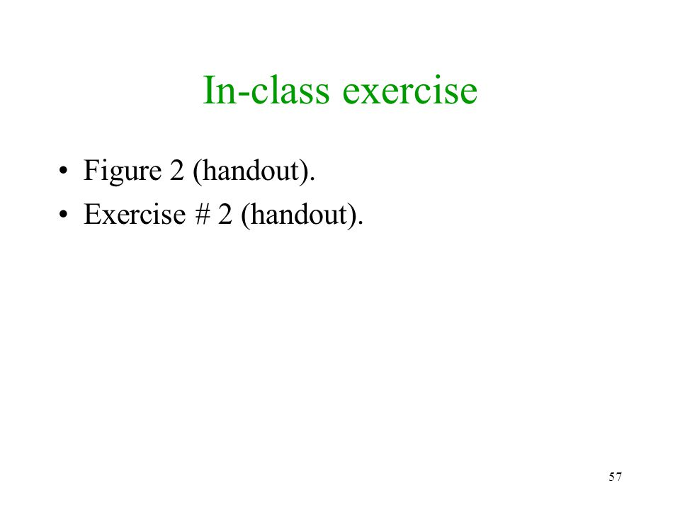 In-class exercise Figure 2 (handout). Exercise # 2 (handout).