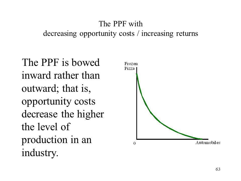 The PPF with decreasing opportunity costs / increasing returns
