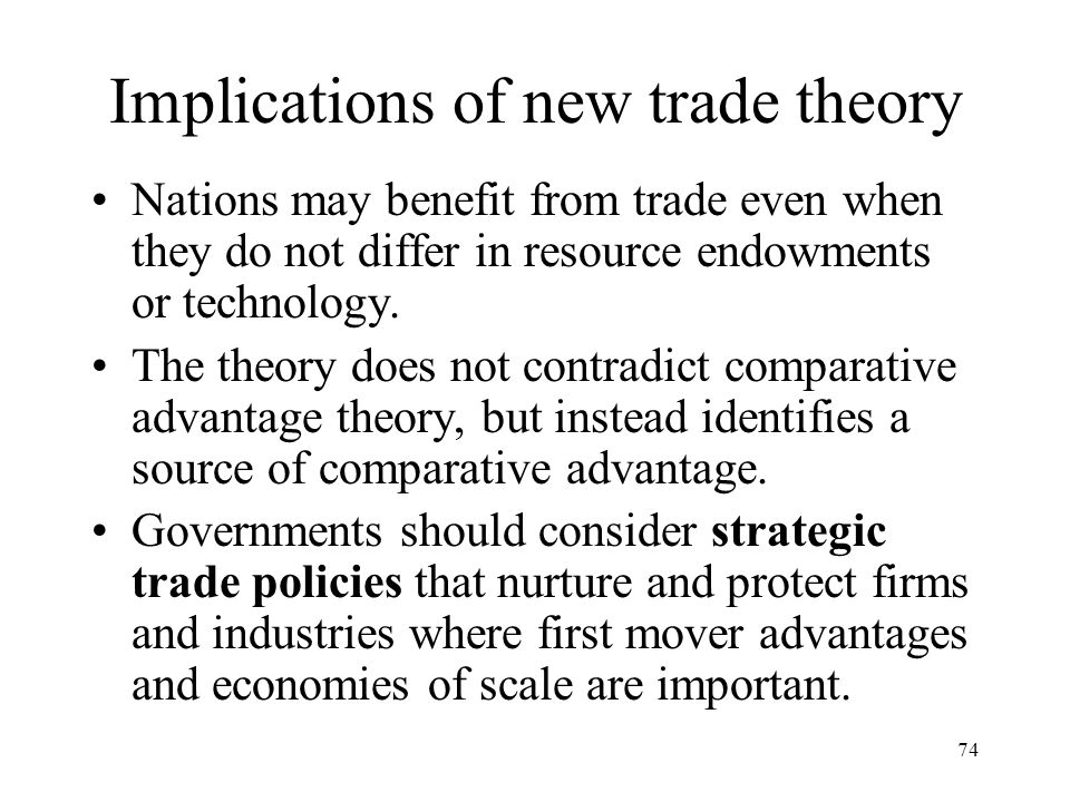Implications of new trade theory