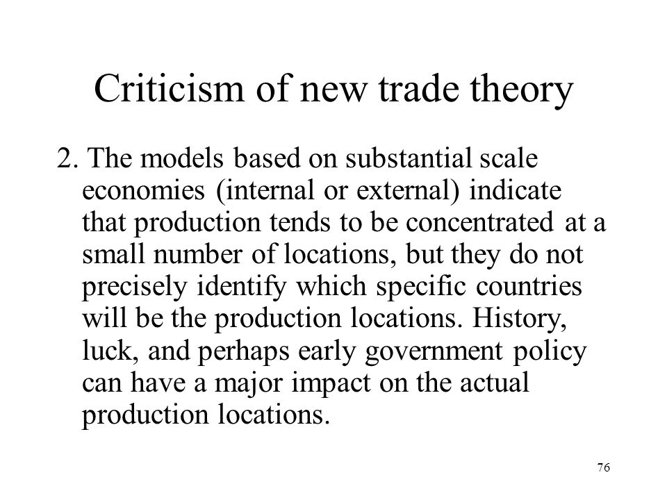 Criticism of new trade theory