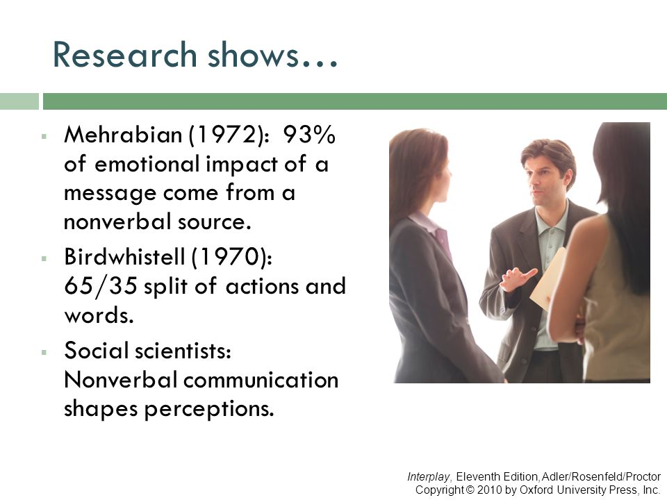 Research shows… Mehrabian (1972): 93% of emotional impact of a message come from a nonverbal source.